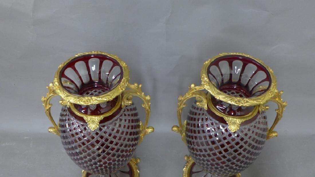 Pair Gilt Bronze and Cut Crystal Vases - 3