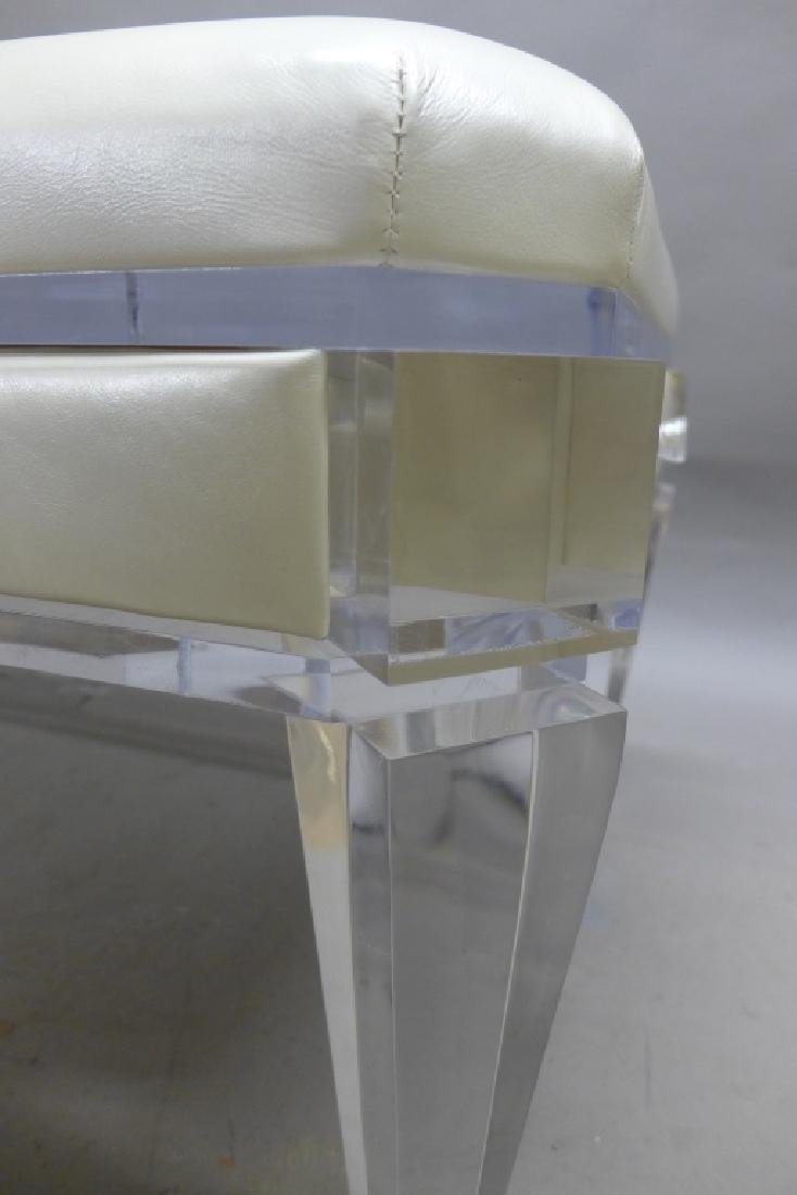 Modern Lucite Bench with Blonde Upholstered Seat - 10
