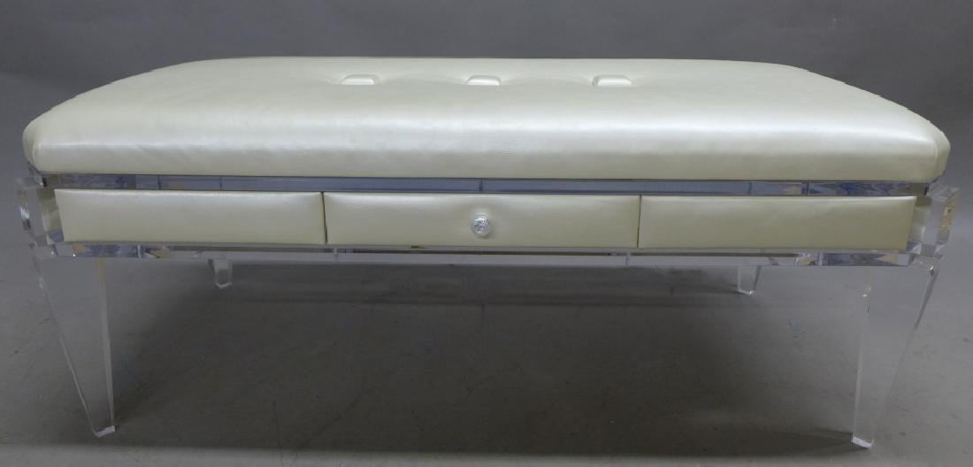 Modern Lucite Bench with Blonde Upholstered Seat