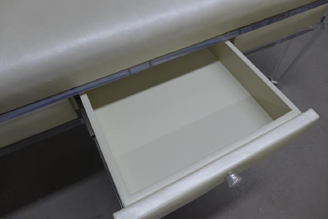 Modern Lucite Bench with Blonde Upholstered Seat - 5