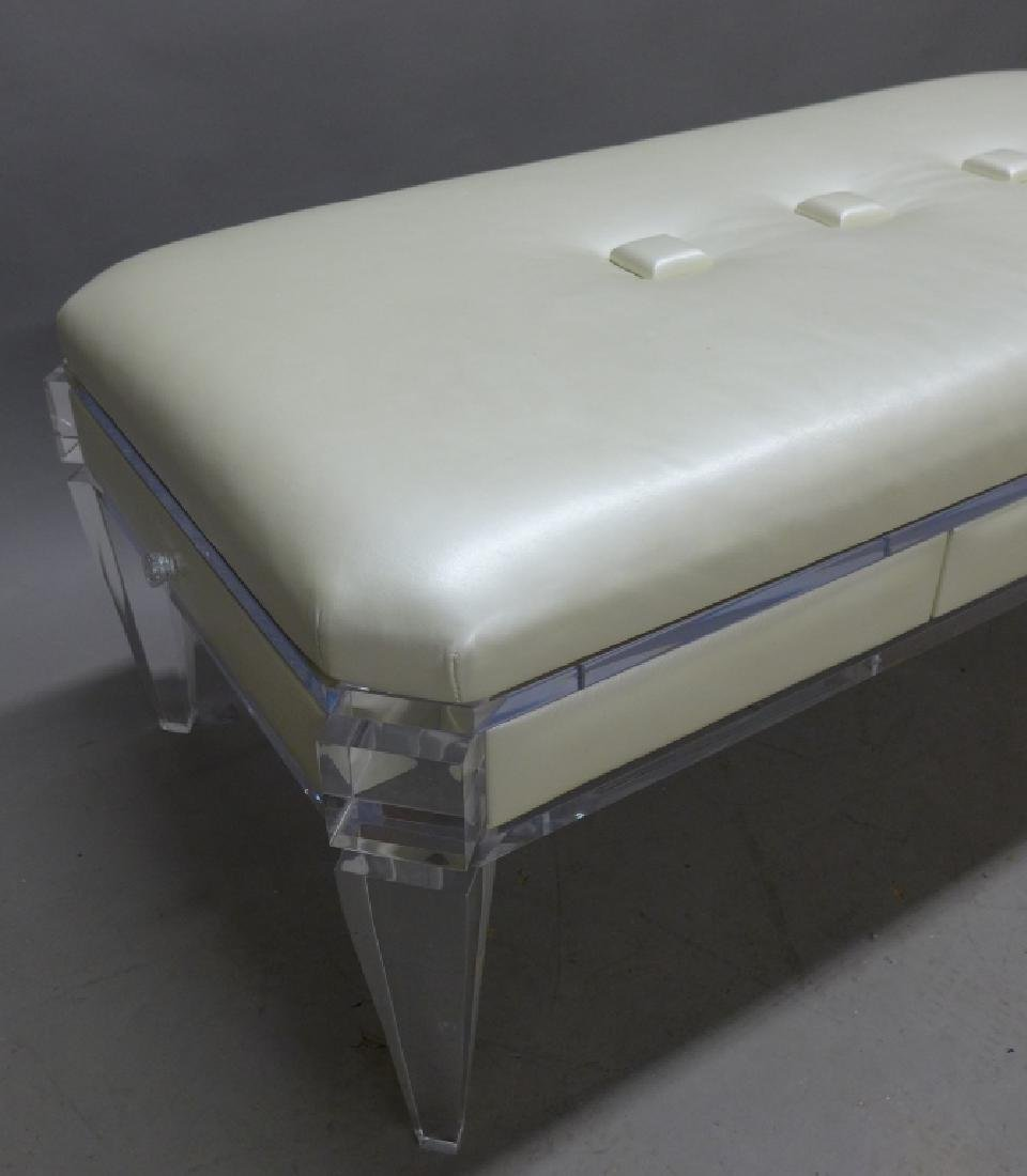 Modern Lucite Bench with Blonde Upholstered Seat - 6