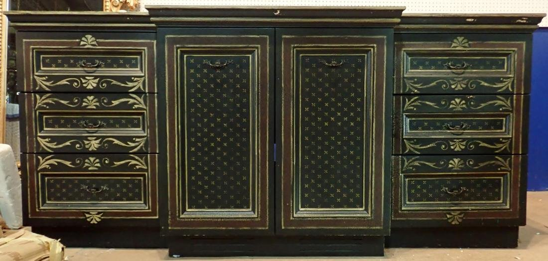 Large Painted Wood Media Console