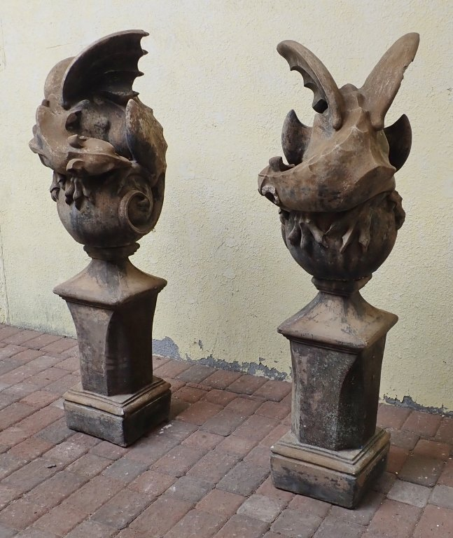 Pair of Winged Dragon Statues with Bases