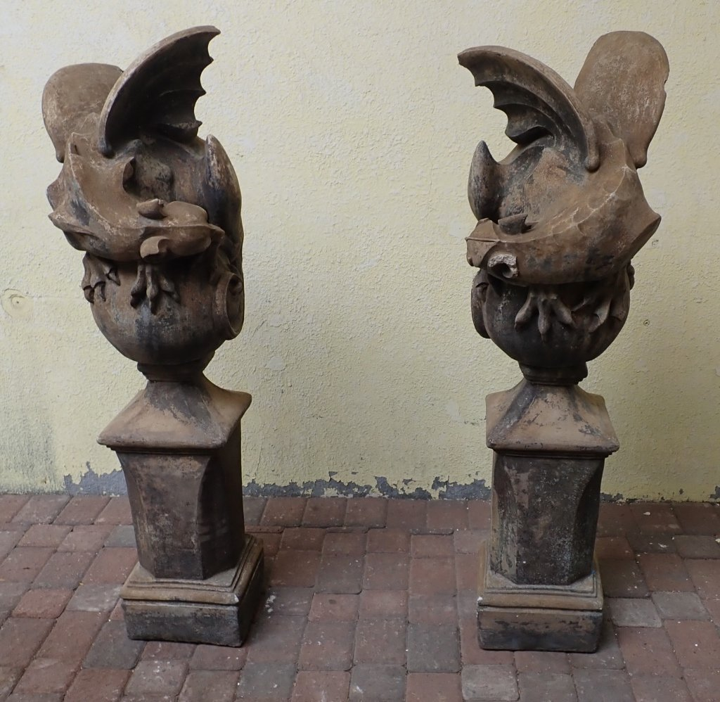 Pair of Winged Dragon Statues with Bases - 2