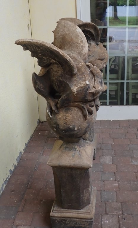 Pair of Winged Dragon Statues with Bases - 5