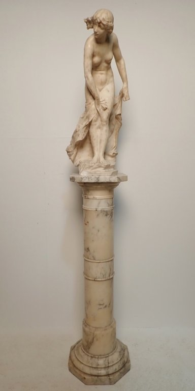 Art Nouveau Alabaster Statue Signed Prof. R Aurili