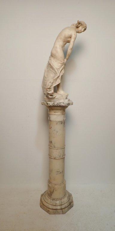 Art Nouveau Alabaster Statue Signed Prof. R Aurili - 2