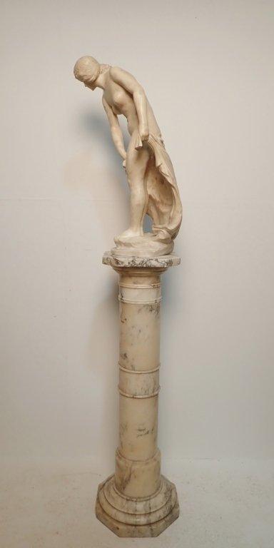 Art Nouveau Alabaster Statue Signed Prof. R Aurili - 4