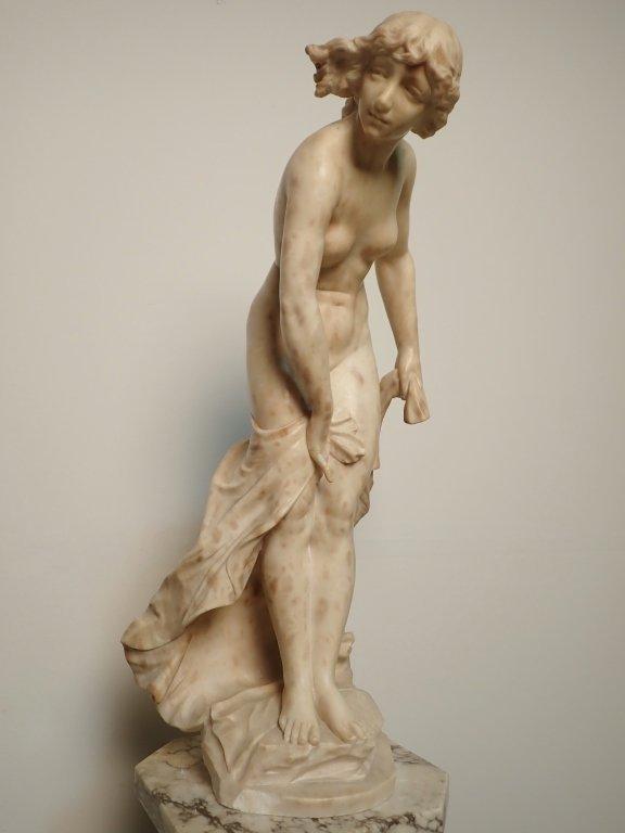 Art Nouveau Alabaster Statue Signed Prof. R Aurili - 5