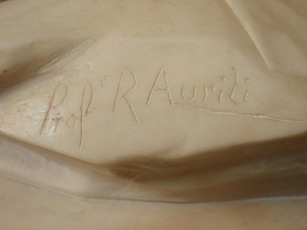 Art Nouveau Alabaster Statue Signed Prof. R Aurili - 8