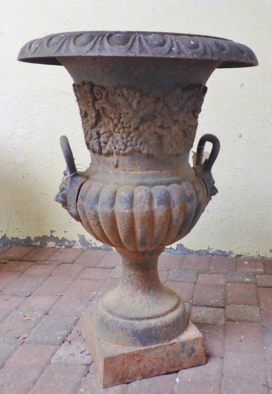 Double Handled Cast Iron Garden Urn