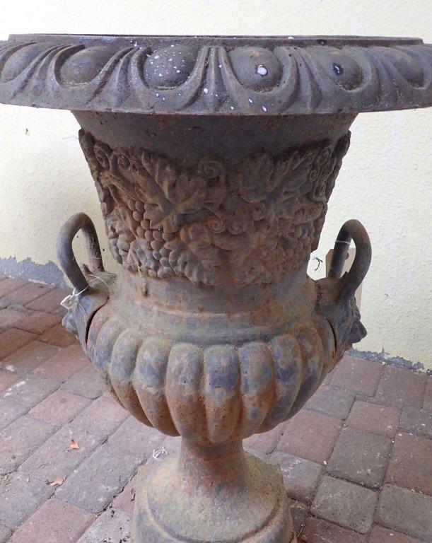 Double Handled Cast Iron Garden Urn - 5