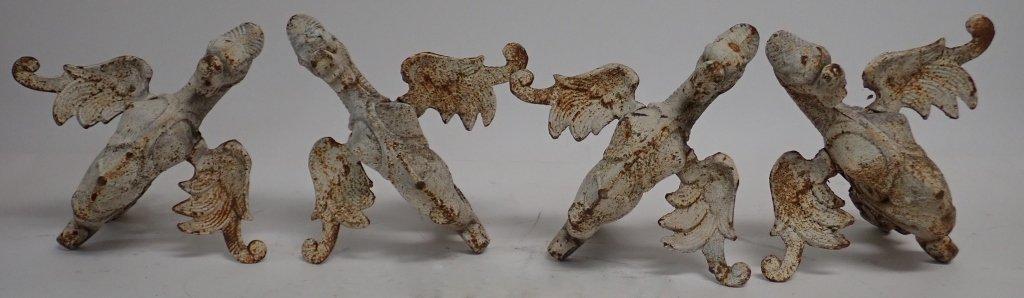 Set of 4 Painted Iron Griffins