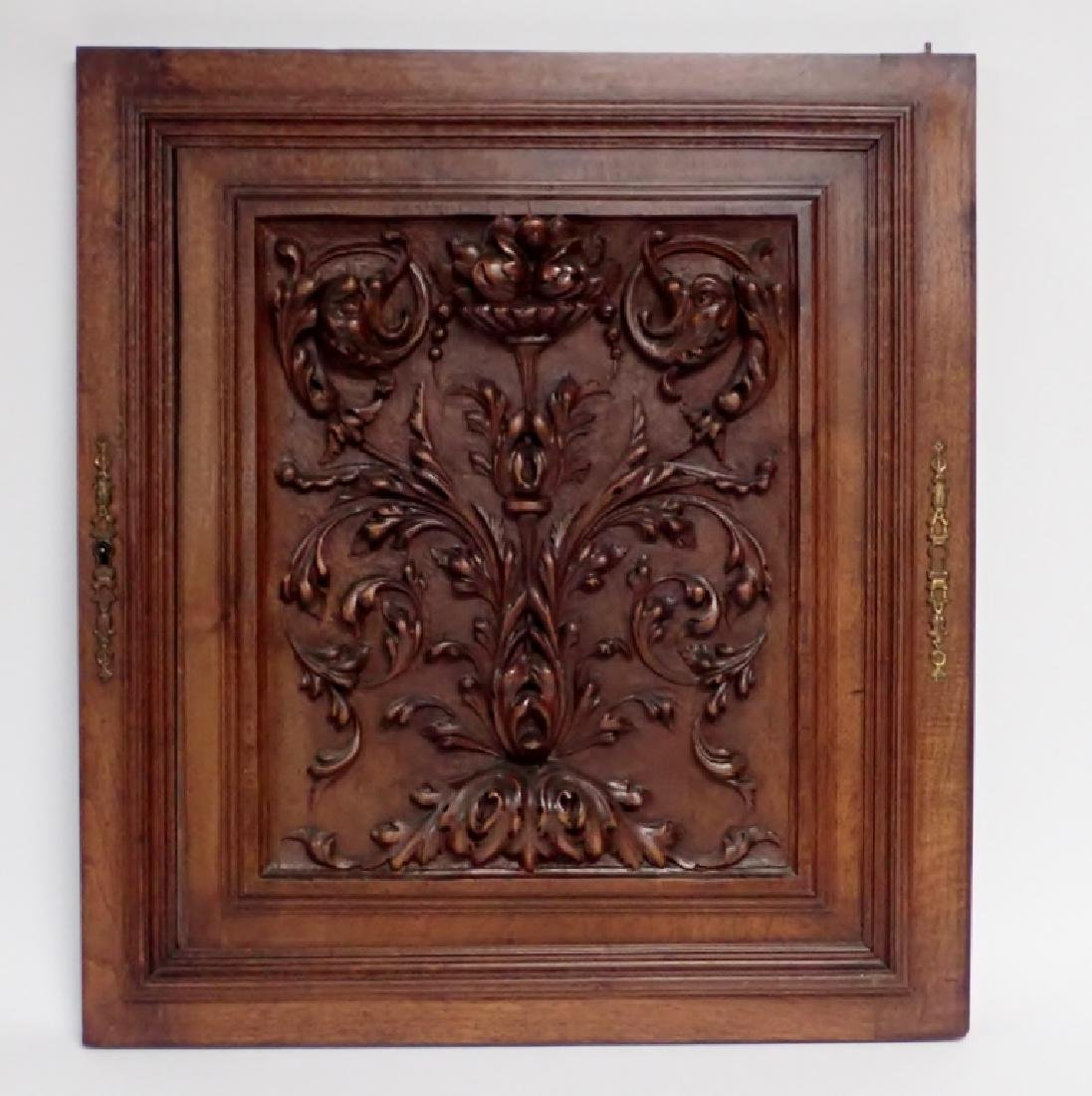 Carved Wooden Element with Floral Motif