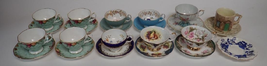 Group of Bone China Tea Cups and Saucers