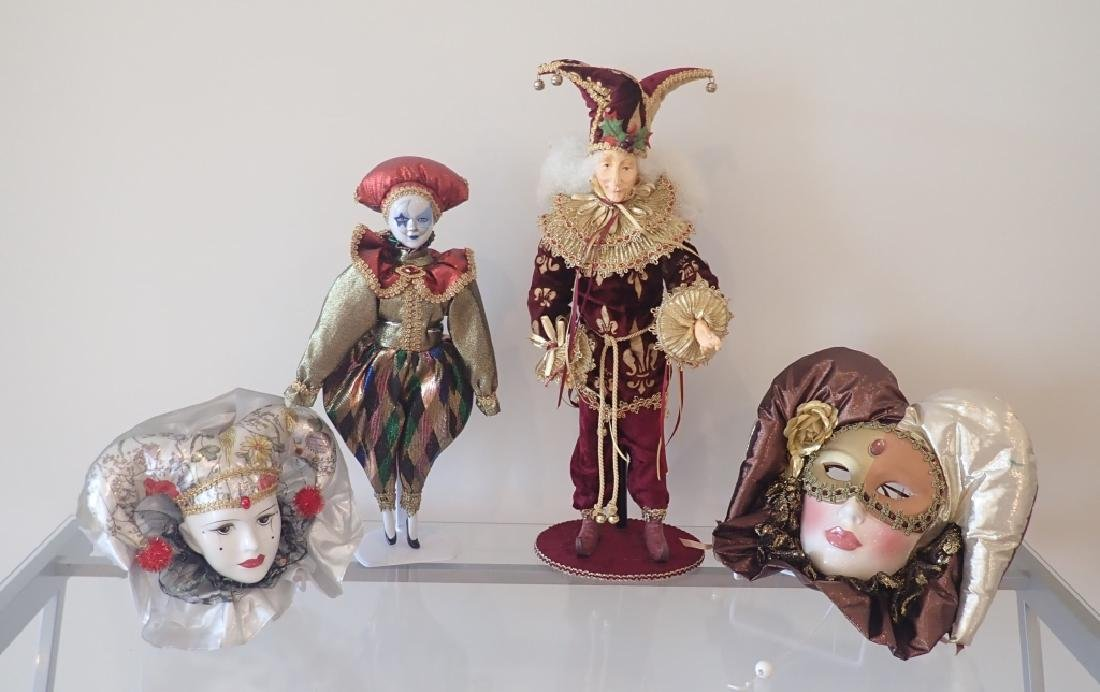 Collection of Venetian Style Masks & Dolls - 13