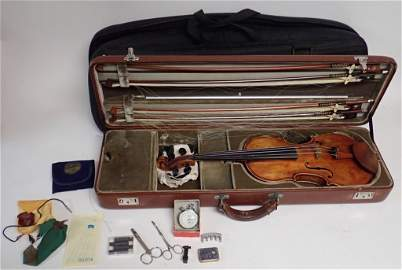 Antique Violin with Case and Four Bows