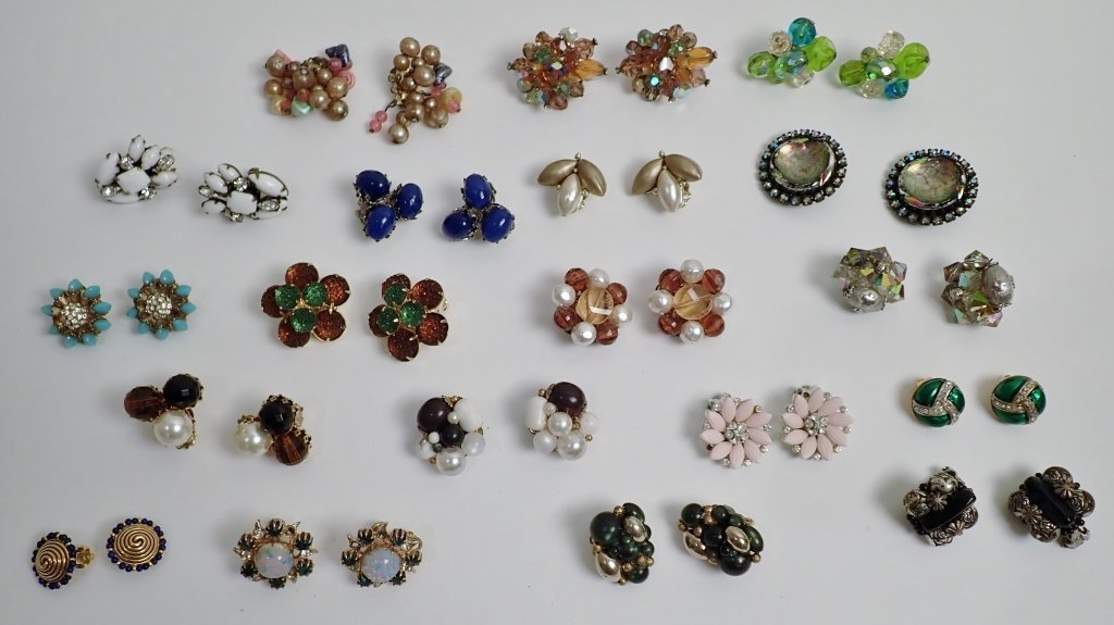 Vintage Crystal & Beaded Clip-on Earring Lot