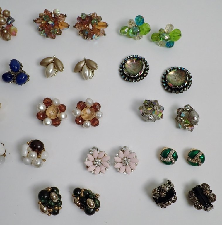 Vintage Crystal & Beaded Clip-on Earring Lot - 3
