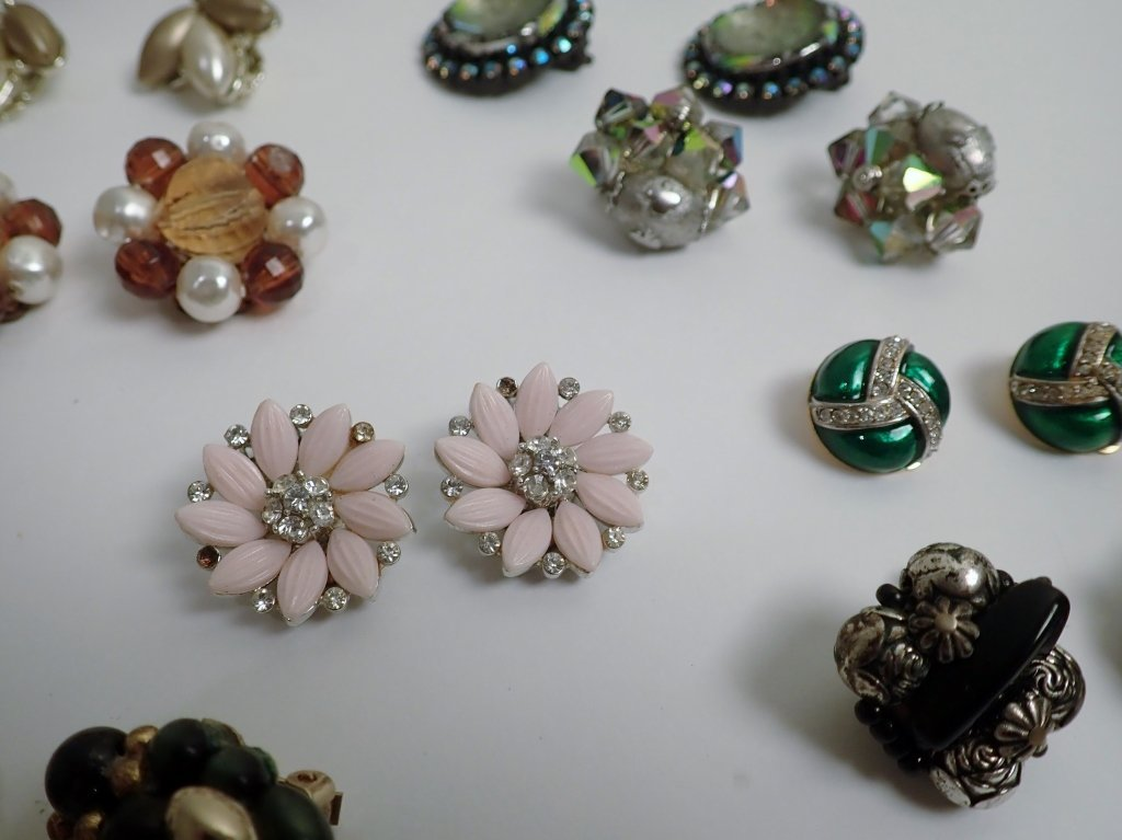 Vintage Crystal & Beaded Clip-on Earring Lot - 5