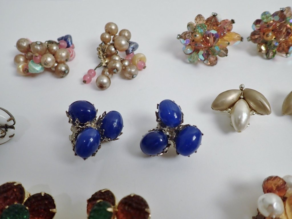 Vintage Crystal & Beaded Clip-on Earring Lot - 6