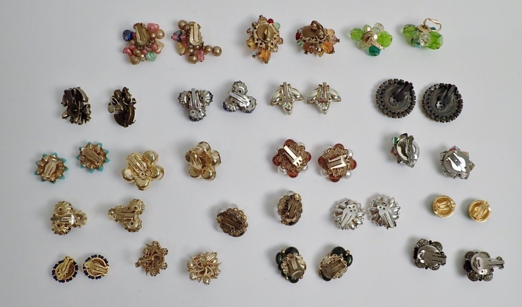 Vintage Crystal & Beaded Clip-on Earring Lot - 7