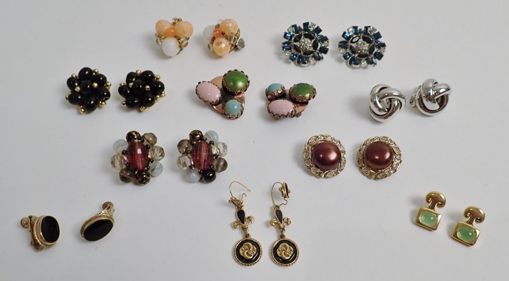 Collection of Signed Vintage Clip-On Earrings