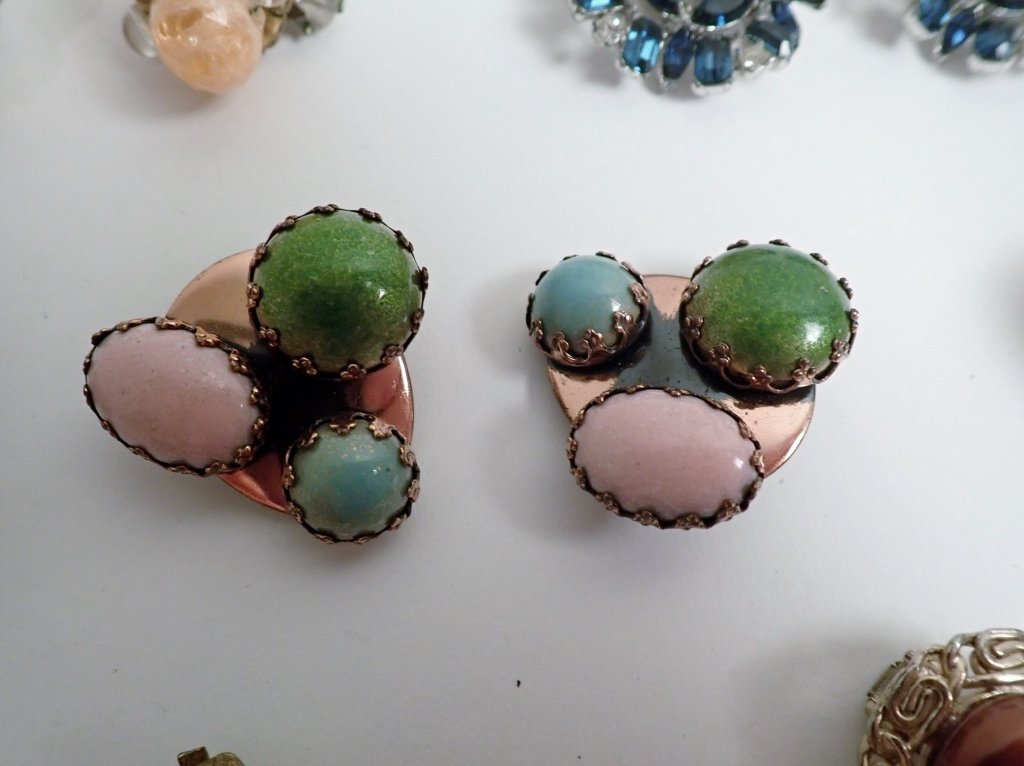 Collection of Signed Vintage Clip-On Earrings - 5