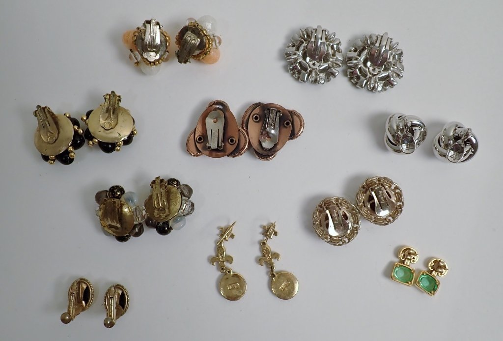 Collection of Signed Vintage Clip-On Earrings - 6