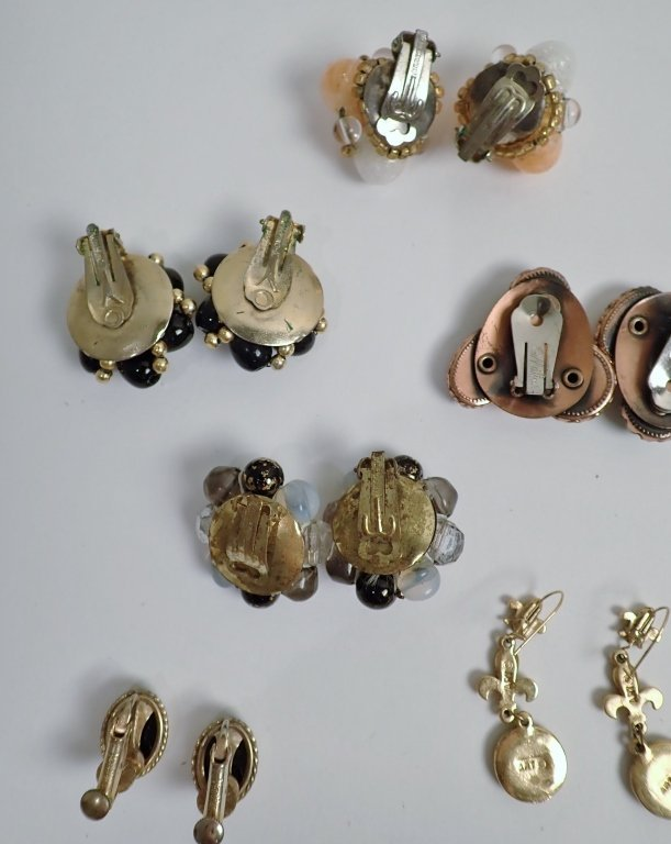 Collection of Signed Vintage Clip-On Earrings - 7