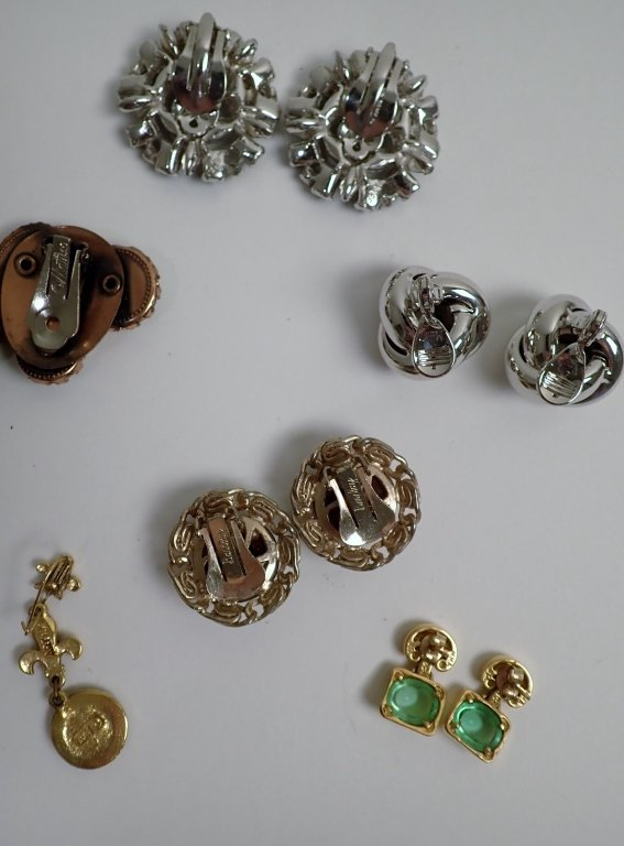 Collection of Signed Vintage Clip-On Earrings - 8