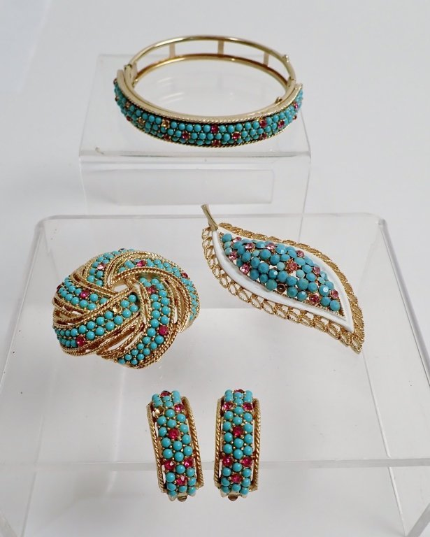Crystal & Bead Signed Costume Jewelry Set