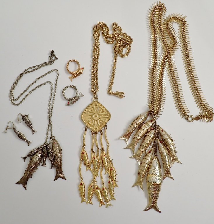 Collection of Vintage Fish Themed Jewelry