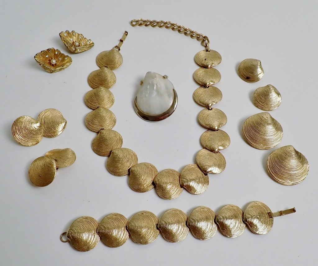 Collection of Signed Vintage Sea Shell Jewelry