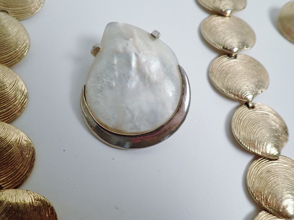 Collection of Signed Vintage Sea Shell Jewelry - 7