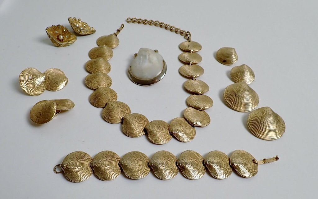 Collection of Signed Vintage Sea Shell Jewelry - 9