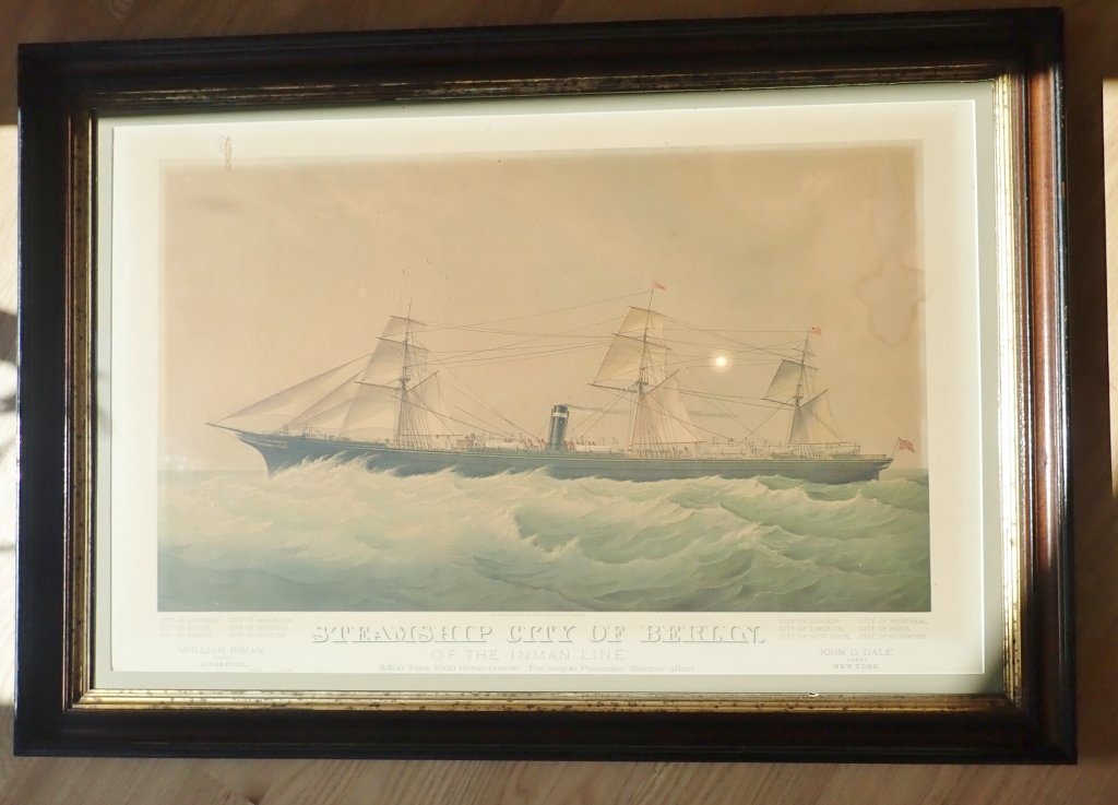 "Steamship ""City of Berlin"" Vintage Lithograph - 10"