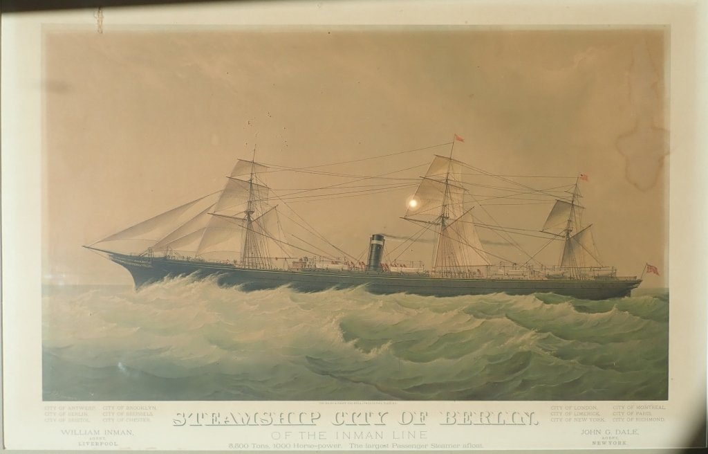 "Steamship ""City of Berlin"" Vintage Lithograph"