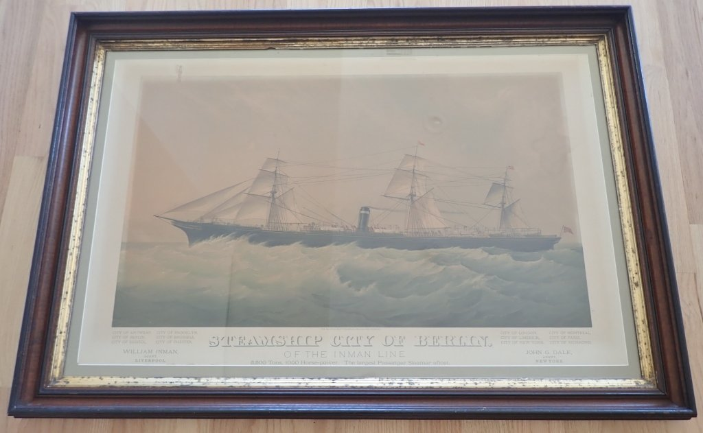 "Steamship ""City of Berlin"" Vintage Lithograph - 2"