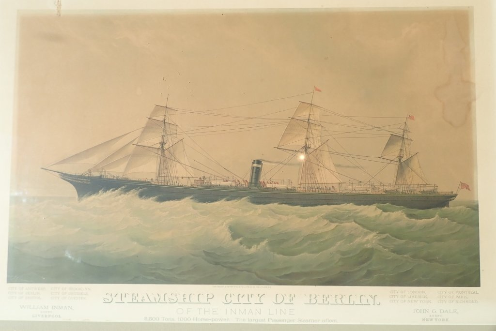 "Steamship ""City of Berlin"" Vintage Lithograph - 5"