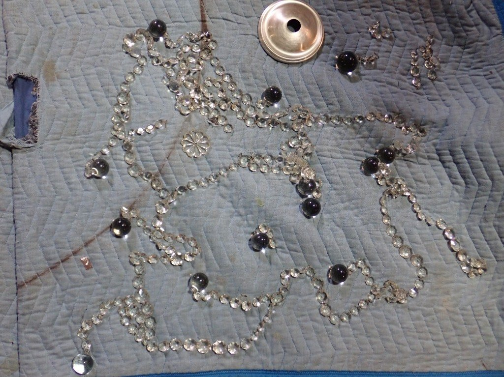 Antique French Basket Crystal Beaded Chandelier - 10