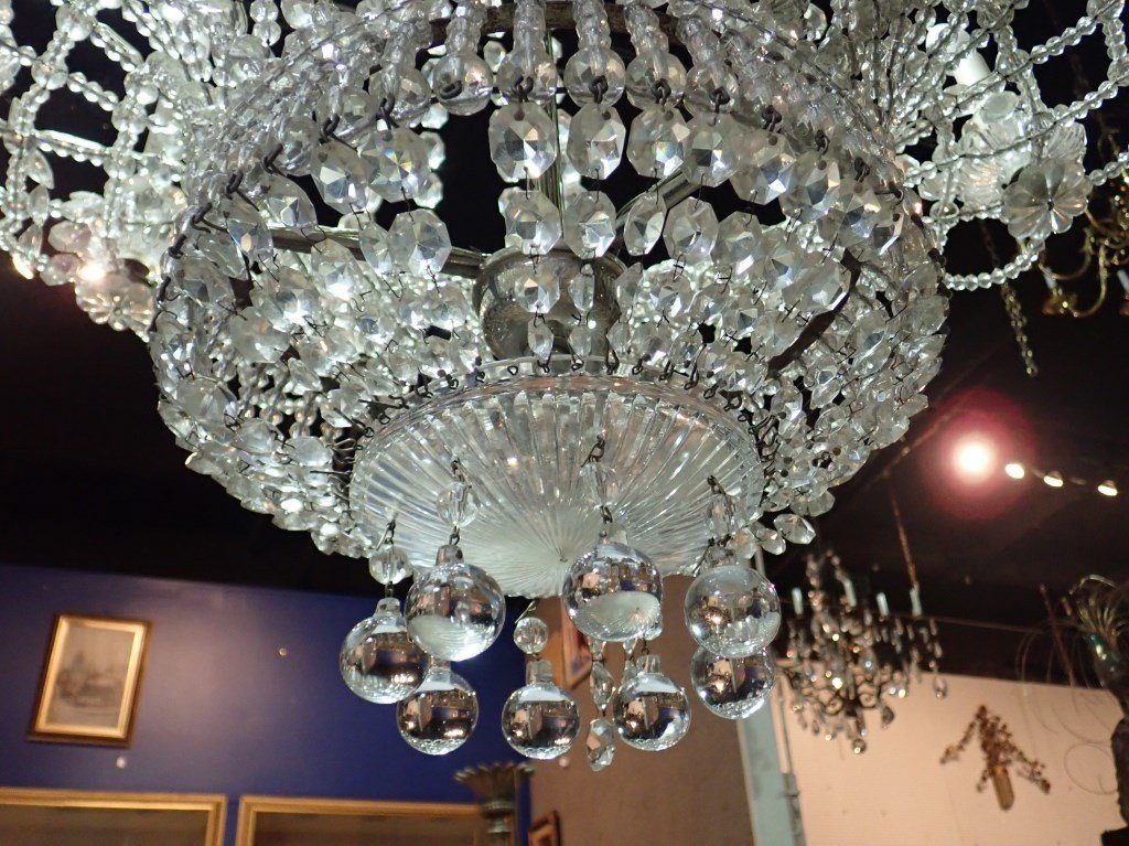 Antique French Basket Crystal Beaded Chandelier - 2