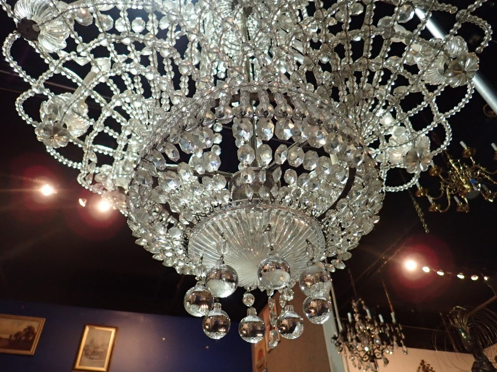 Antique French Basket Crystal Beaded Chandelier - 3