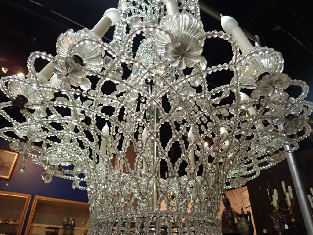 Antique French Basket Crystal Beaded Chandelier - 4