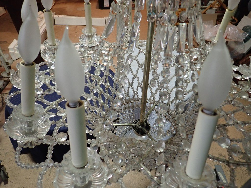 Antique French Basket Crystal Beaded Chandelier - 5