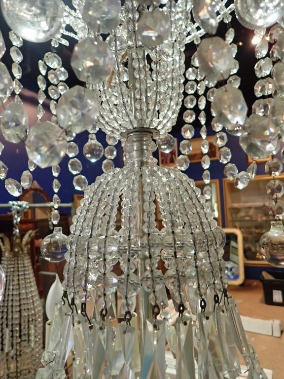 Antique French Basket Crystal Beaded Chandelier - 6