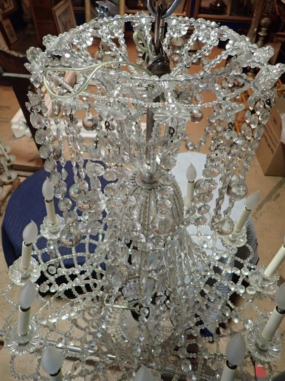 Antique French Basket Crystal Beaded Chandelier - 8