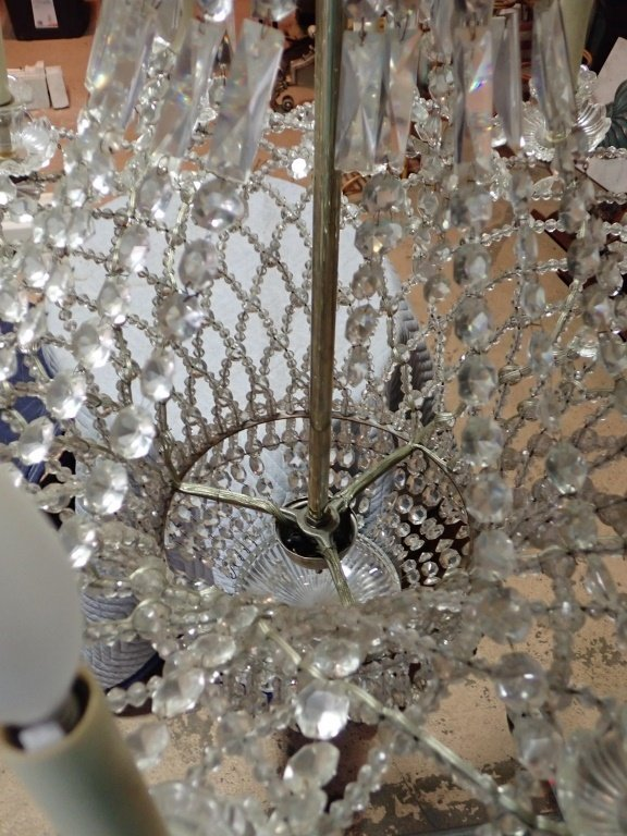 Antique French Basket Crystal Beaded Chandelier - 9