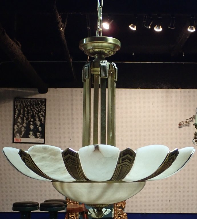 Art Deco Style Bronze and Alabaster Chandelier