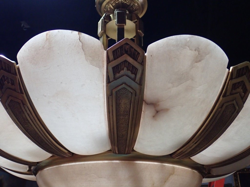 Art Deco Style Bronze and Alabaster Chandelier - 4